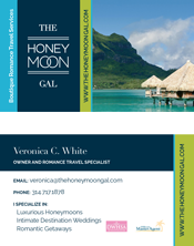 The Honeymoon Gal business card front and back