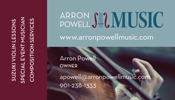 Arron Powell Music business card